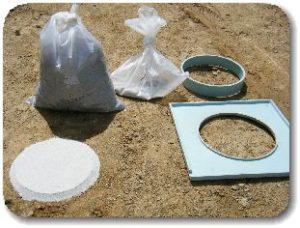 舗装調査・試験法便覧 突き砂法による土の密度試験の写真
